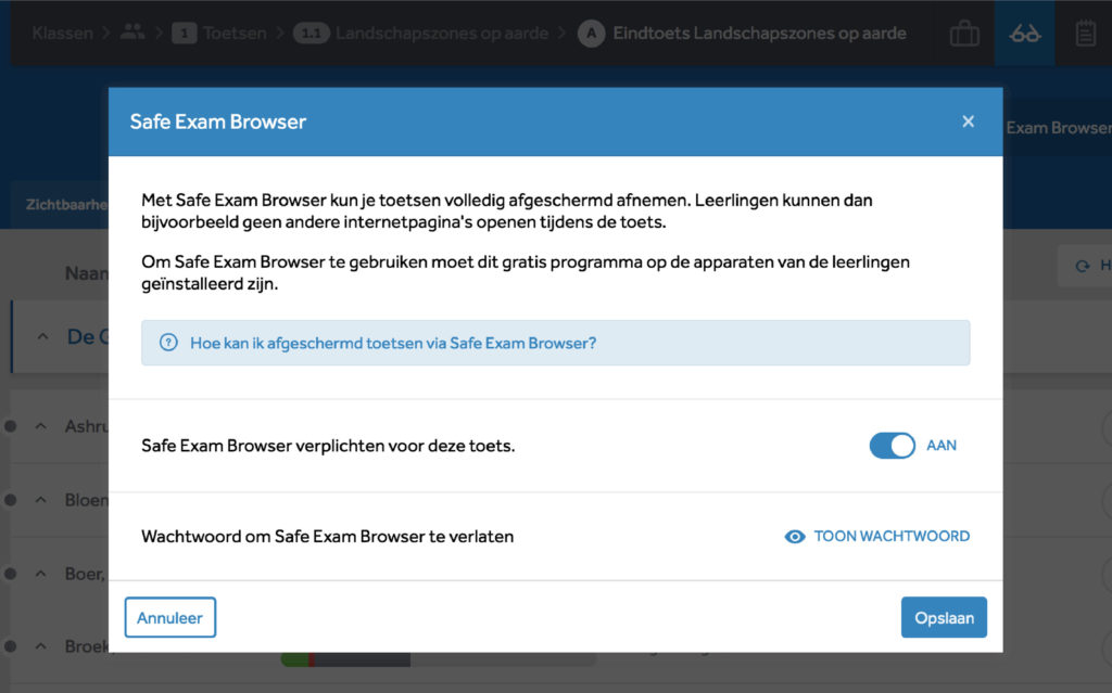 Uitleg en instellingen bij het gebruik van een Safe Exam Browser. Je kan het hier aanzetten en het wachtwoord terugvinden.