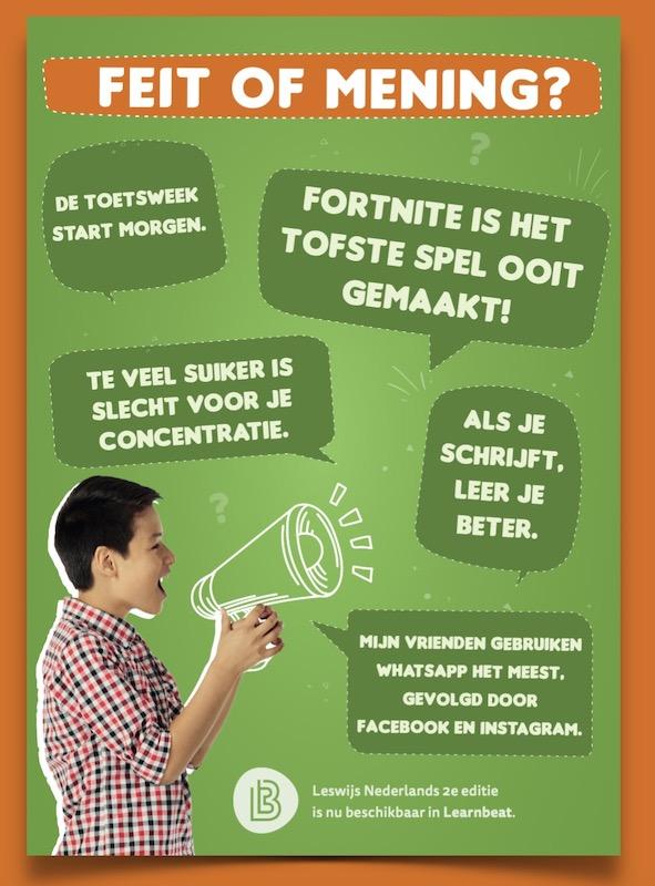 Educatieve poster Nederlands over feit of mening