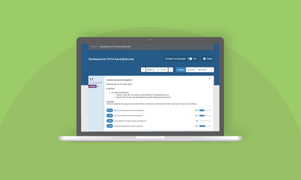 Een voorbeeld van een lesplanning in de studieplanner van Learnbeat.