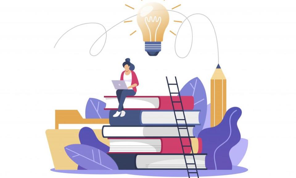 Een leerling gaat creatief aan de slag met het portfolio.