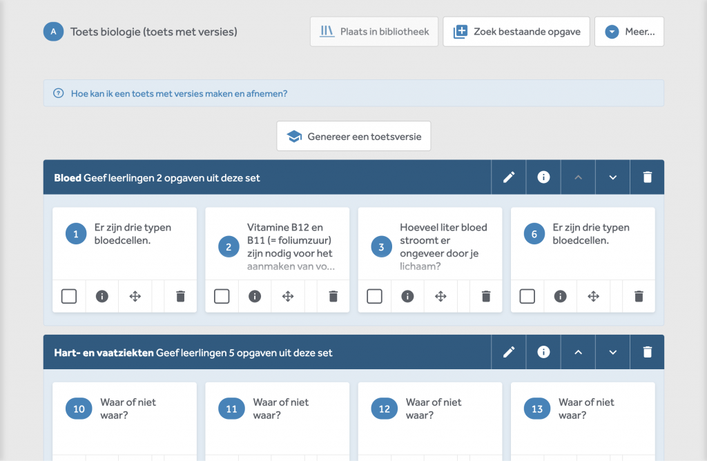"""toetsen-met-versies-maken-in-learnbeat. Je ziet drie sets met vragen. Bovenaan zie je de knop """"Genereer een versie"""" waarmee je een unieke toets kan maken."""