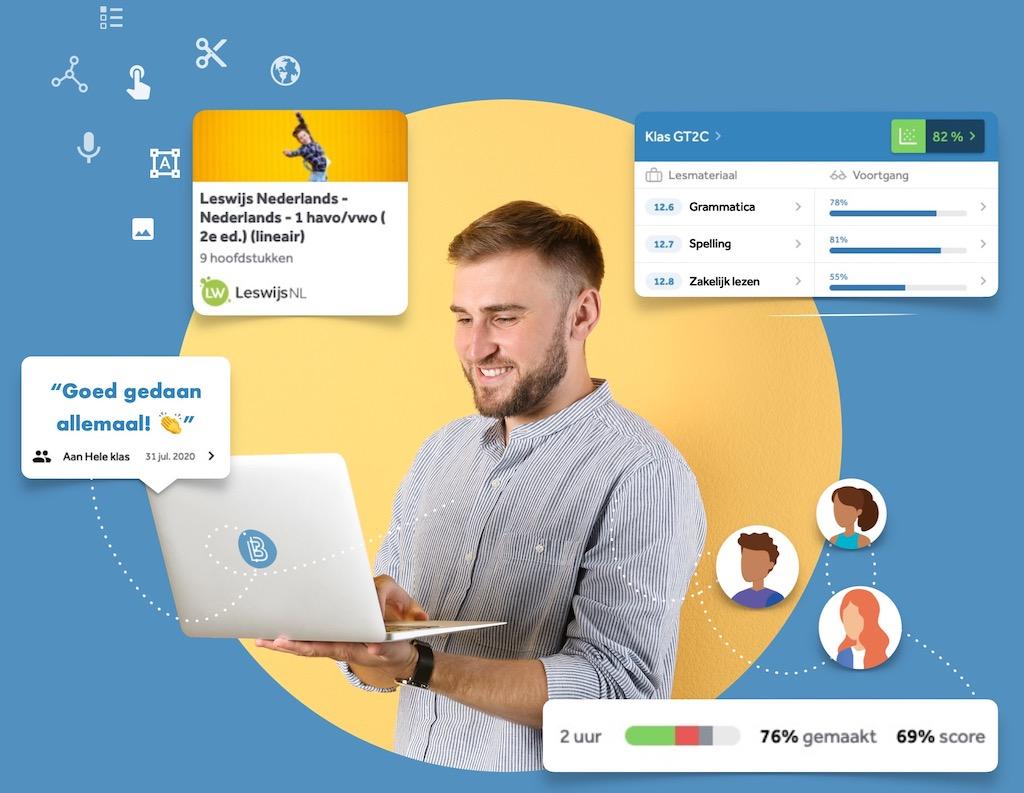 VO docent nederlands geeft digitaal les in Learnbeat