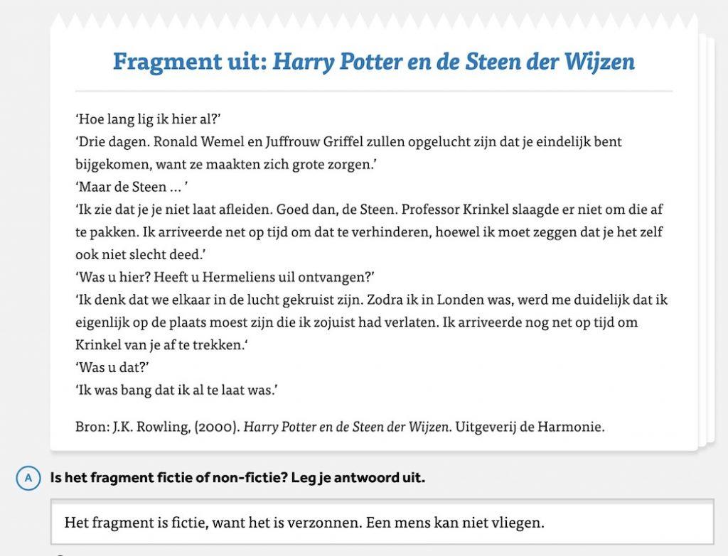 Fictie-fragment in Learnbeat: Harry Potter