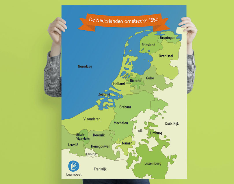 educatieve poster geschiedenis met de kaart van Nederland omstreeks 1650
