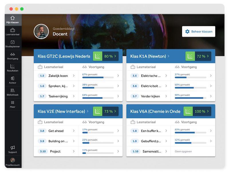 Het 'Mijn klassen' scherm in Learnbeat. In dit overzicht zijn verschillende klassen te zien. Per klas zie je de gemiddelde score over de laatste 10 vragen en het gemaakte percentage van de laatste paragraven waarin leerlingen hebben gewerkt.