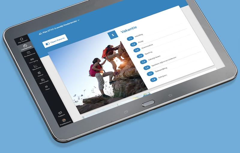Tablet waarop de inhoudsopgave van hoofdstuk in Learnbeat wordt getoond. Links in het scherm zie je de menubalk van Learnbeat.