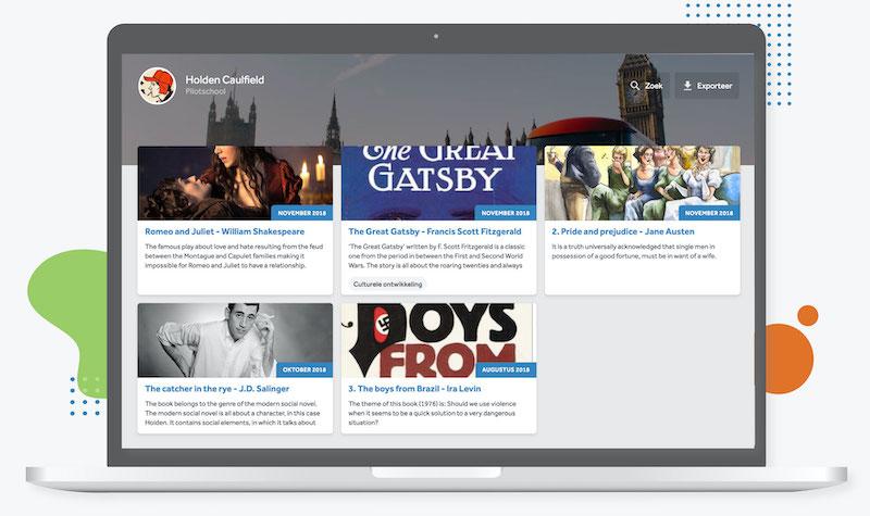 Het portfolio in Learnbeat. In dit scherm zie je het overzicht van verschillende boekverslagen.