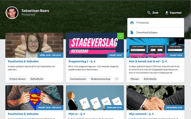 Het portfolio in Learnbeat: download of exporteer