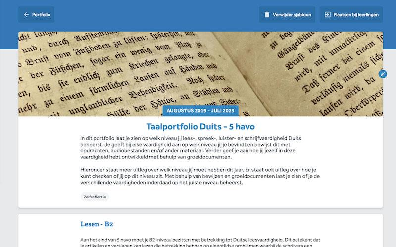 Inhoud van een portfolio in Learnbeat Met afbeelding van een Duitstalig boek en het onderwerp 'zelfreflectie' geselecteerd.