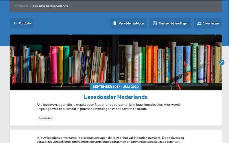 Inhoud van een portfolio in Learnbeat Met afbeelding van een gevulde boekenkast en het onderwerp 'creativiteit' geselecteerd.