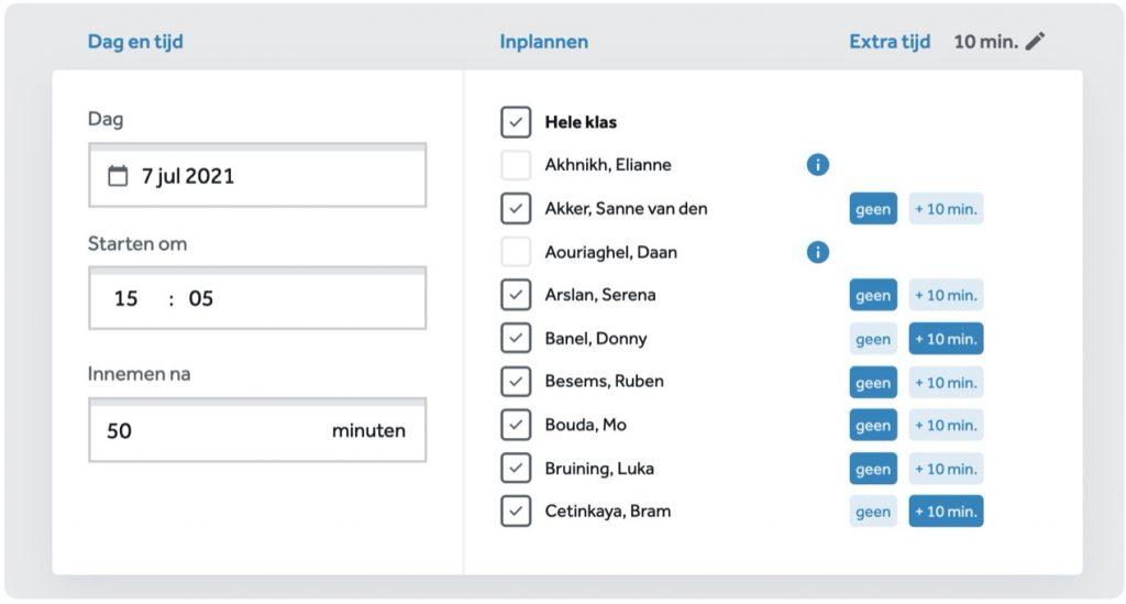 scherm in Learnbeat waarop je ene toets inplant selecteer starttijd en -datum, tijdsduur en leerlingen