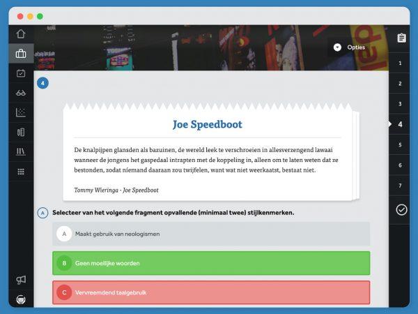 opgave-tekstfragment-uit-Joe-Speedboot-stijlkenmerken-benoemen-in-oefenprogramma-CambiumNed-in-Learnbeat