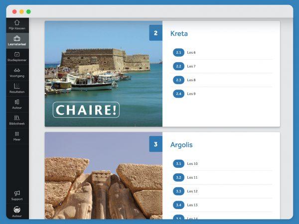 Overzicht van twee hoofdstukken uit Chaire. Hoofdstuk 2 gaat over Kreta, hoofdstuk 3 gaat over Argolis. Je ziet ook de bijbehorende paragraven van het hoofdstuk.