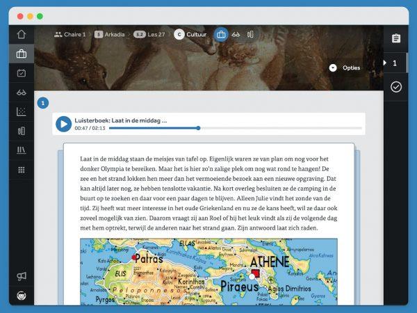 Activiteit uit Chaire met een geluidsfragment dat al halverwege is. Daaronder zie je een Nederlandse tekstbron met een kaart van een deel van Griekenland.