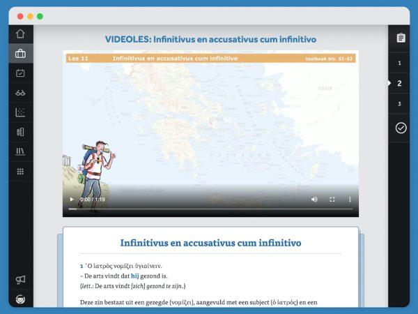Activiteit van Chaire over infinitivus en accusativus cum infinitivo. De uitleg is in een videoles en met een tekstbron.