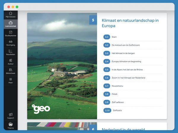 -scherm-laat-hoofdstukindeling-van-lesmethode-aardrijkskunde-De-Geo-zien-in-Learnbeat-hoofdstuk-5-klimaat-en-natuurlandschap-in-Europa-6-Nederland-in-de-wereld