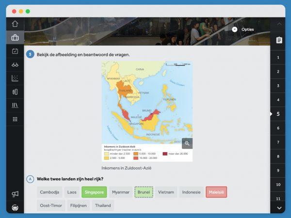 scherm-in-Learnbeat-laat-opgave-zien-met-daar-kaart-van-Azië-die-per-land-de-koopkracht-per-inwoner-in-euro's-toont-en-daaronder-staan-de-namen-van-landen-klik-aan-welke-twee-landen-heel-rijk-zijn-Singapore-kleurt-groen-antwoord-is-correct-Maleisië-kleurt-rood-antwoord-is-fout-Brunei-kleurt-lichtgroen-met-grijze-stippellijntjes-dit-was-het-juiste-antwoord