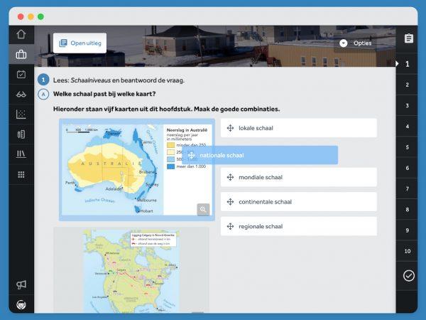 opgave-zet-het-juiste-schaalniveau-bij-de-kaart-in-methode-De-Geo-in-Learnbeat-scherm-laat-vijf-kaarten-zien-van-Australië-en-Canada-en-noemt-vijf-schaalniveaus-lokale-schaal-nationale-schaal-mondiale-schaal-continentale-schaal-regionale-schaal-maak-de-juiste-combinaties