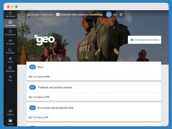 scherm-laat-paragraafindeling-met-voortgang-zien-van-hoofdstuk-3-uit-lesmethode-De-Geo-in-Learnbeat-3.1-Start-voortgang-40%-3.2-Thailand:een-andere-wereld-voortgang-73%-3.3-De-cultuur-van-Zuidoost-Azië-voortgang-5%