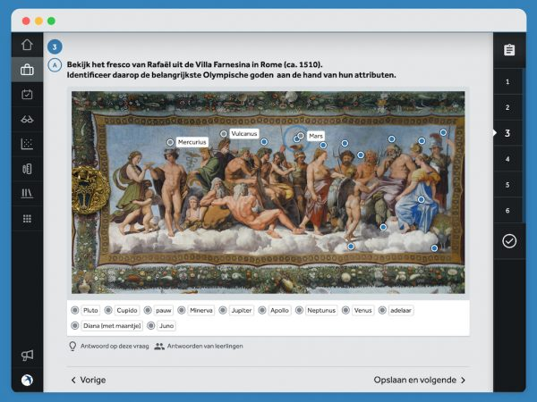 Vraag over een afbeelding van een fresco van Rafaël met Latijnse goden. Je moet de namen naar de juiste plek op de afbeelding slepen.