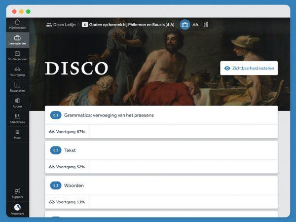 Inhoudsopfave van hoofdstuk 6 uit Disco. Je ziet de eerste drie paragraven en het voortgangspercentage.