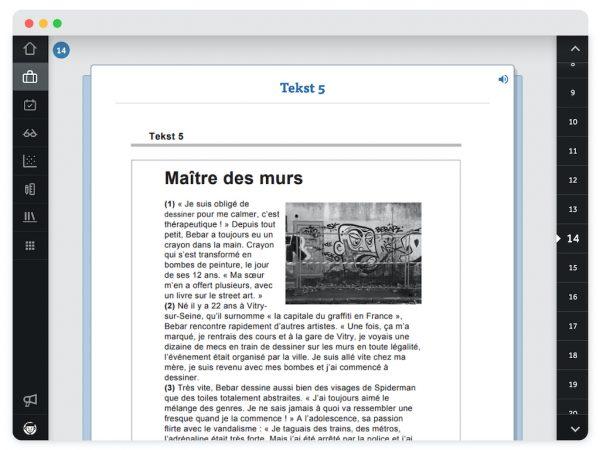 Bron met Franse tekst 5, ondersteund door een afbeelding. Je ziet een voorleesfunctie rechtsboven.