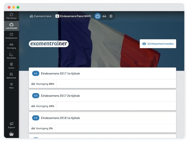 paragraafindeling-Examentrainer-Frans-havo-in-Learnbeat-eindexamens-2017-1e-tijdvak-voortgang-89%-2017-2e-tijdvak-2018-voortgang-28%-1e-tijdvak-voortgang-0%