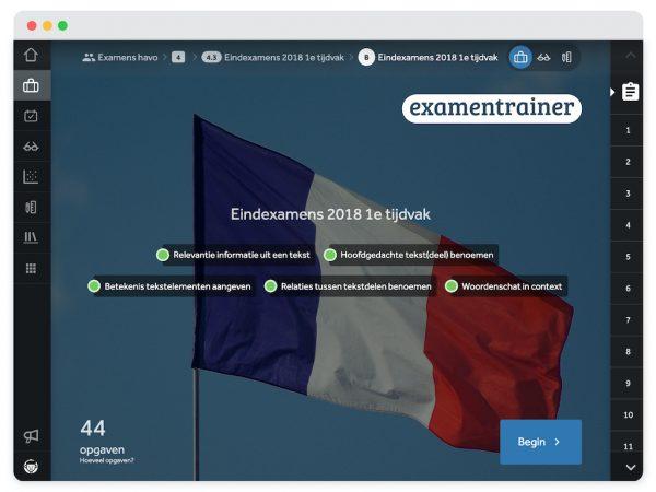 Beginscherm van een activiteit uit de examentrainer. Op de achtergrond zie je de Franse vlag.