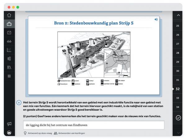 scherm-in-Learnbeat-met-bron-2-Stedenbouwkundig-plan-Strijp-S-met-toeter-die-voorleesfunctie-weergeeft-bovenaan-afbeelding-met-plan-voor-Strijp-S-opgave-A-open-vraag-noem-2-kenmerken-waarom-Strijp-S-geschikt-is-voor-de-nieuwe-mix-van-functies