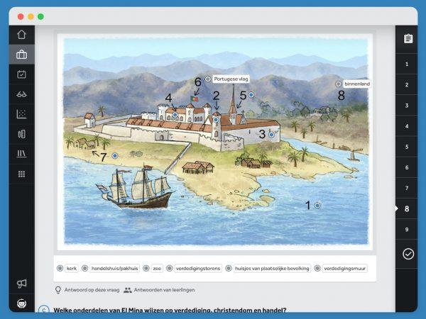 scherm-in-Learnbeat-met-opgave-geschiedenis-tekening-van-Fort-Elmina-met-hotspots-zet-de-juiste-term-op-de-juiste-plek-in-de-afbeelding-uit-lesmethode-Feniks kerk handelshuis/pakhuis zee verdedigingstorens huisjes van plaatselijke bevolking verdedigingsmuur binnenland Portugese vlag