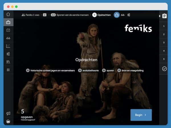 startscherm-in-Learnbeat-van-opdrachten-in-paragraaf-2.2-uit-methode-geschiedenis-Feniks-1VWO-sporen-van-de-eerste-mensen-4-onderwerpen-historische-context-jagers-en-verzamelaars-evolutietheorie-sporen-bron-en-vraagstelling-achtergrondfoto-van-4-holbewoners-blauwe-knop-begin