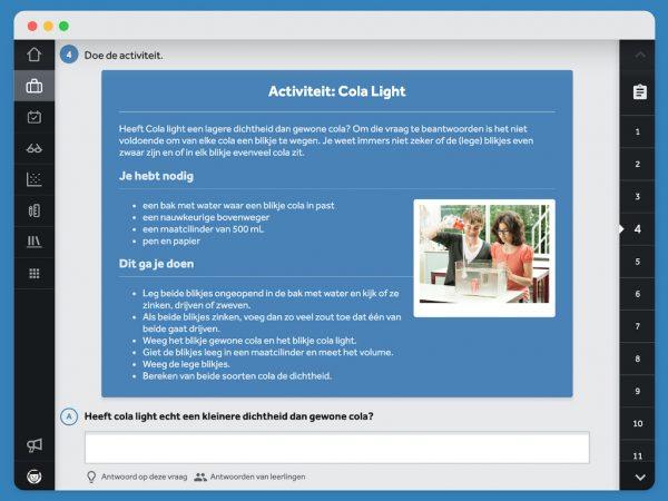 Praktikum opdracht over Cola Light in activiteit van Impact.