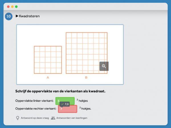 Vraag uit Kern Wiskunde waarbij je aan moet geven hoeveel vierkante hokjes je ziet in kwadraat. De vraag is gedeeltelijk goed beantwoord. Het goede deel is groen, het fout deel is rood.