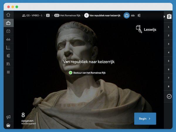 Beginscherm van een activiteit met Julius Caesar op de achtergrond