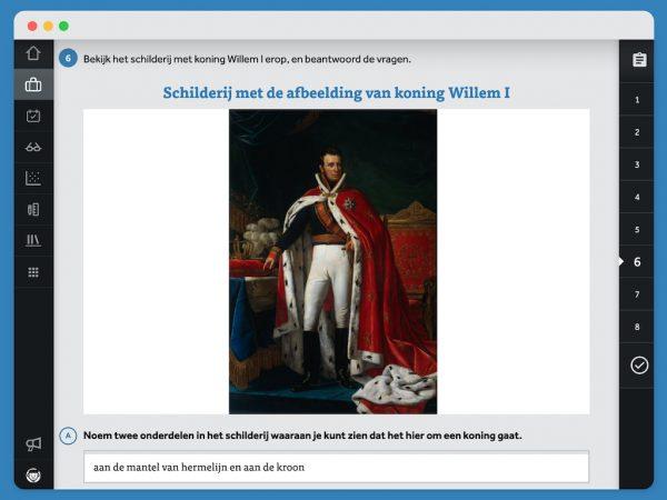 Open vraag uit Leswijs Geschiedenis over een schilderij van Koning Willem I