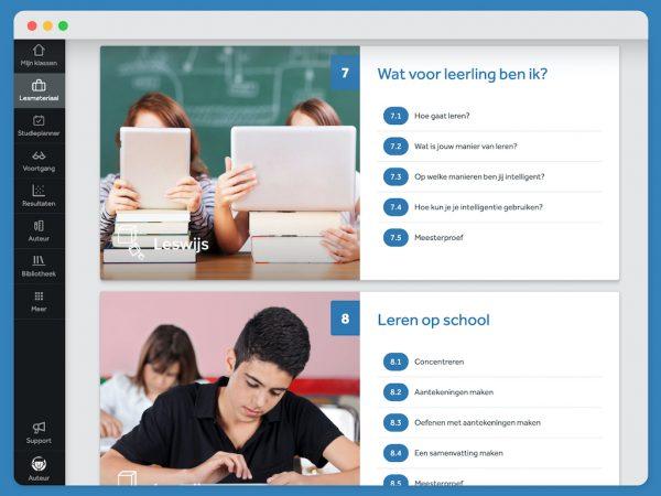 Overzicht van twee hoofdstukken uit Leswijs Studiebegeleiding. Over 'Wat voor leerling ben ik' en 'Leren op school'. Je ziet de verschillende paragraven.