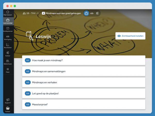 Inhoudsopgave van hoofdstuk 4 over mindmaps. Je ziet de verschillende paragraven. Onderdeel uit Leswijs Studiebegeleiding in Learnbeat.