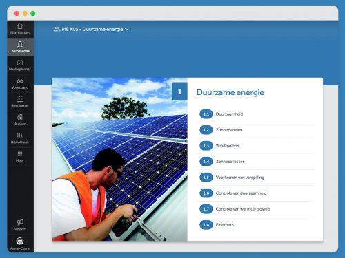 Inhoudelijk overzicht van de module 'Duurzame Energie' uit PIE. Je ziet de verschillende titels van paragraven en een eindtoets.