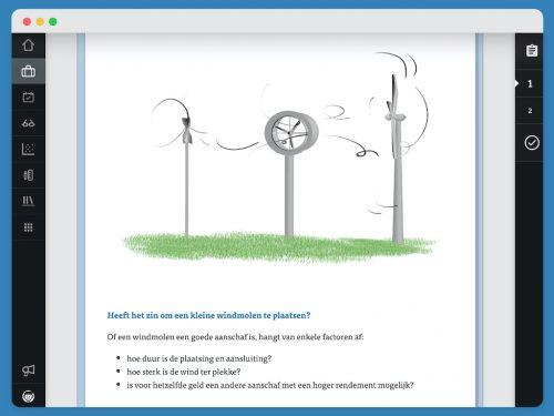 Theoretische uitleg over windmolens met een tekening van windmolens. Je ziet een aantal graadmeters voor het succes van een windmolen.