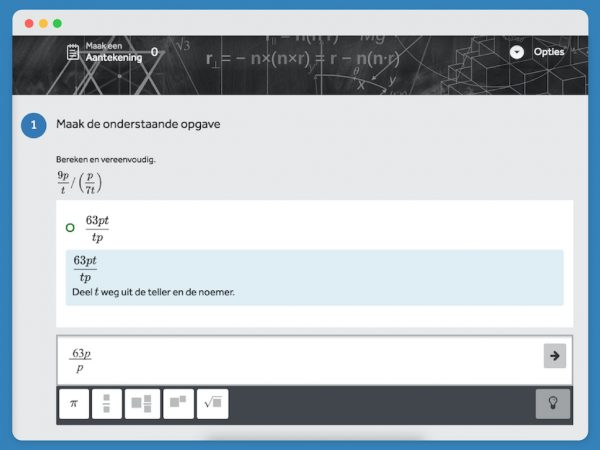 Opgave uit Wistrainer waarin je door middel van berekenen en vereenvoudiging tot het juiste antwoord komt.