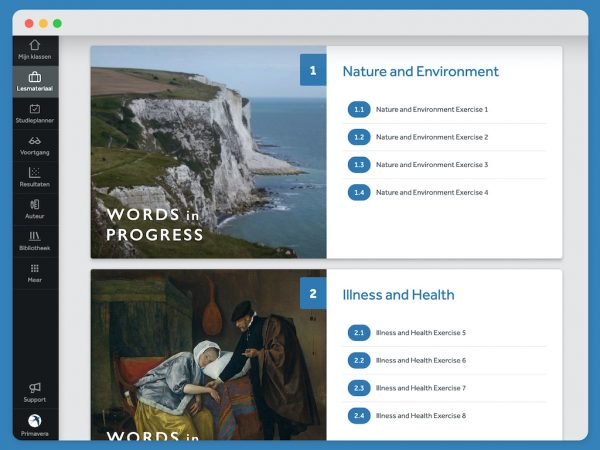 hoofdstukindeling-oefenprogramma-Words-in-Progress-in-Learnbeat-hoofdstuk-1-Nature-and-Environment-hoofdstuk-2-Illness-and-Health