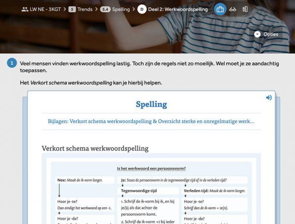 opgave-met-stukje-theorie-verkort-schema-werkwoordspelling-uit-lesmethode-Nederlands-Leswijs-in-Learnbeat